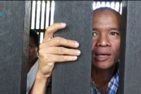 Win Hlaing, who has been sentenced to two years in jail for his solo protest. (PHOTO: DVB TV screenshot).