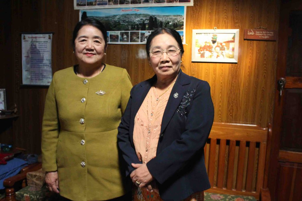 Two ladies who started the first self reliant savings group in Falam. Sayama Bawi Nei Thlvai (right) and Sui Thluai (left) (PHOTO: Libby Hogan/DVB)